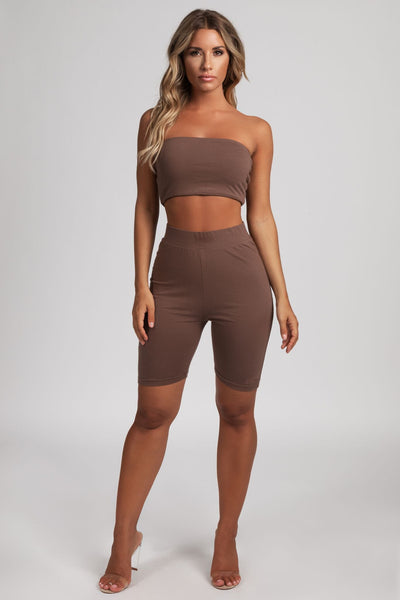 Anita Jersey Biker Shorts Leggings - Chocolate - MESHKI