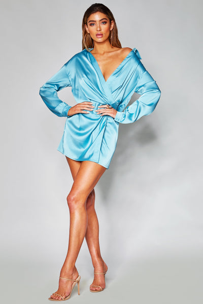 Allie Satin Wrap Shirt Dress - Turquoise - MESHKI