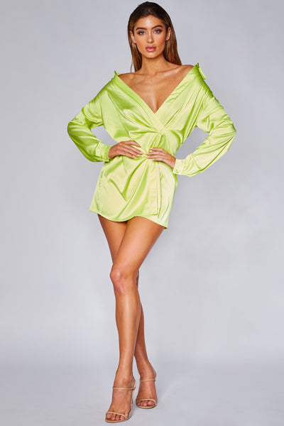 Allie Satin Wrap Shirt Dress - Lime Green - MESHKI