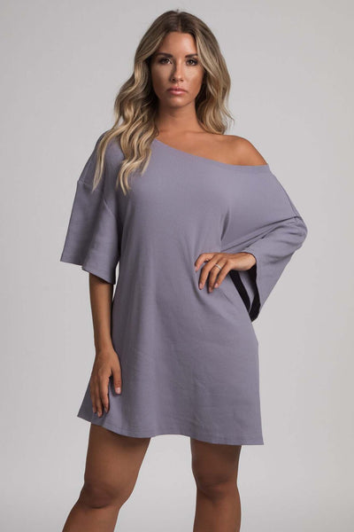 Kenisha Ribbed T - Shirt Dress - Grey - MESHKI