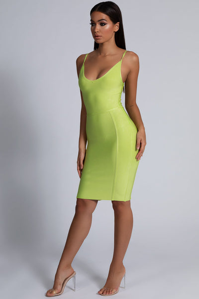 Nicole Strappy Bandage Mini Dress - Lime Green - MESHKI