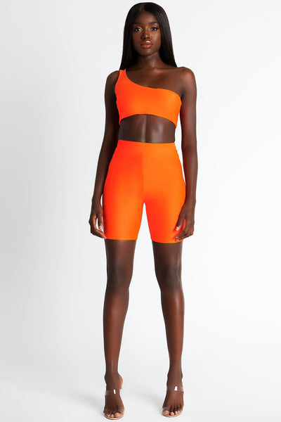 Jenna Slinky Bike Shorts - Neon Orange - MESHKI