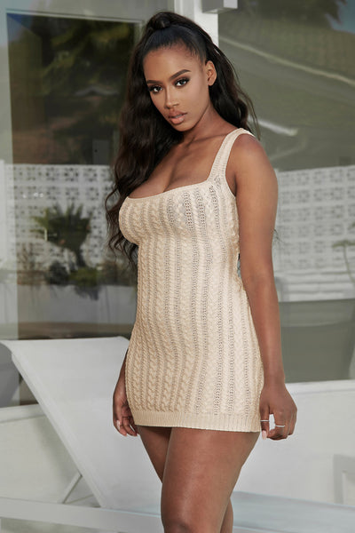 Penelope Cable Knit Mini Dress - Nude - MESHKI