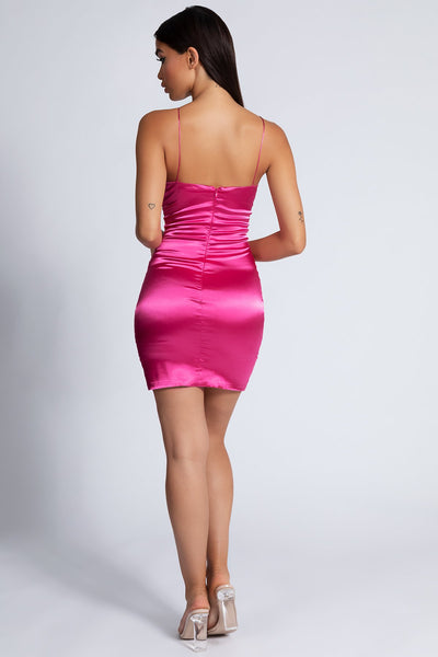 Harley Ruched Front Dress - Hot Pink - MESHKI