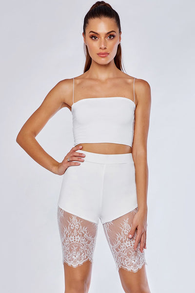 Stacie Lace Panel Bike Shorts - White - MESHKI