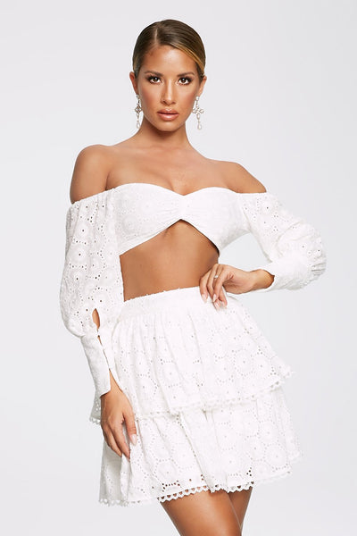 Adia Broderie Long Sleeve Crop Top - White - MESHKI