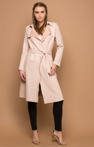 Super Sleek Faux Suede Trench