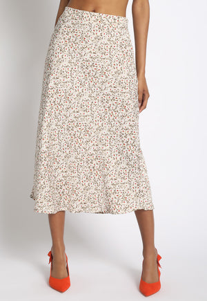 Ditsy Floral Sateen Midi Skirt