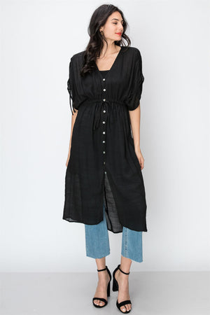 Gathered Empire Button Down Dress