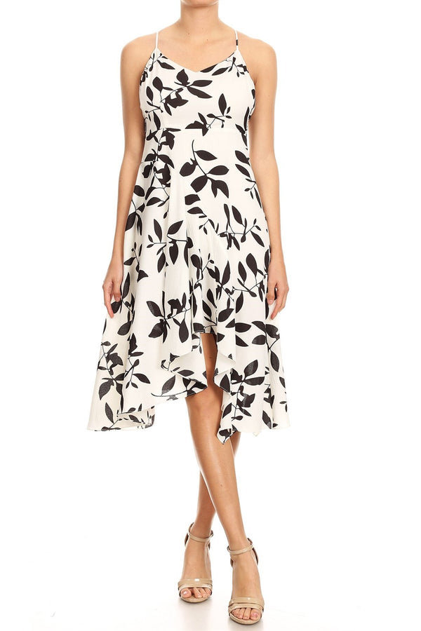 Strappy Asymmetrical Leaves Dress