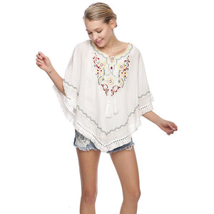 Embroidered Fringe Pullover Top