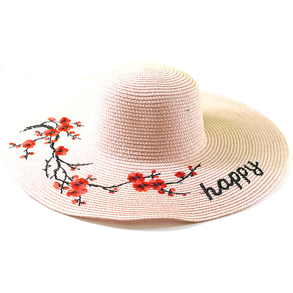 """Happy"" Floral Branches Sun Hat"