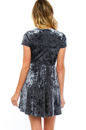 Deep V Crushed Velvet Skater Dress
