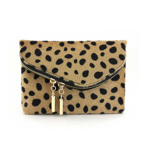 Dual Zip Velvet Clutch with Chain