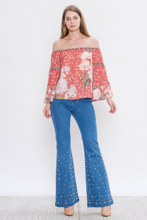 Bell Bottom Denim Pants With Pearl Detail