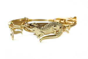 Bourbon and Boweties Gator Bangle Gold /Gold