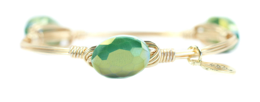 Bourbon and Boweties Hawk Bangle Green/Gold 1