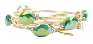 Bourbon and Boweties Hawk Bangle Green/Gold 2
