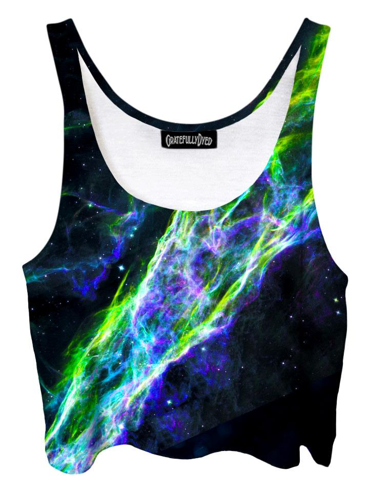 Trippy front view of GratefullyDyed Apparel black & neon green nebula galaxy crop top.