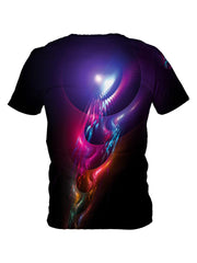 Back view of all over print psychedelic sound wave t shirt by Gratefully Dyed Apparel.
