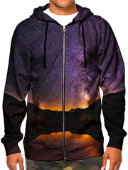 Model wearing GratefullyDyed Appearl black & purple mountain galaxy hoodie.