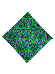 Trippy Gratefully Dyed Apparel green, purple & pink geometric fractal bandana flat view.