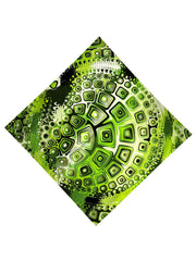 Green and black geometric shapes all over print bandana flat view