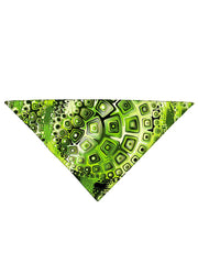 Green and black geometric shapes all over print bandana folded
