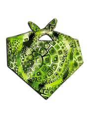 Green and black geometric shapes all over print bandana