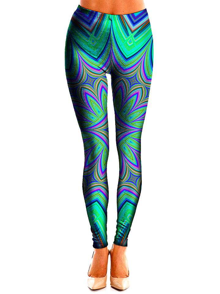 Trippy Teal Leggings Front View