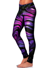 Black and Purple Leggings Side View