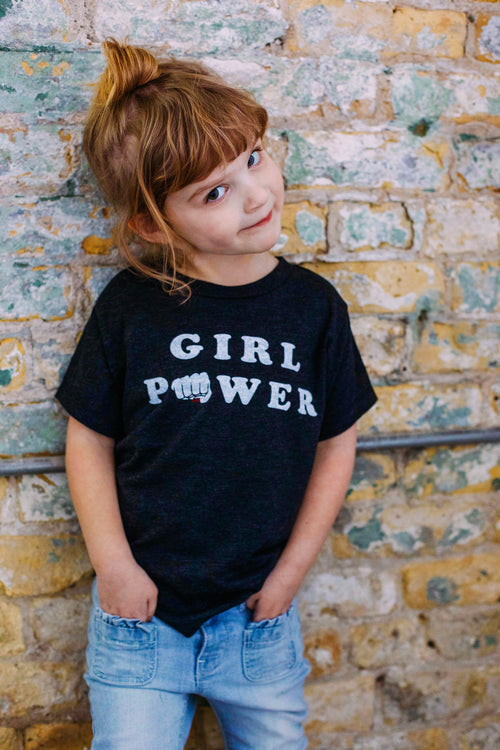 Girl Power Kids Triblend Black T-shirt