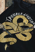 Trouble Loves Me Snake Solid Black Ladies Muscle Tank Top