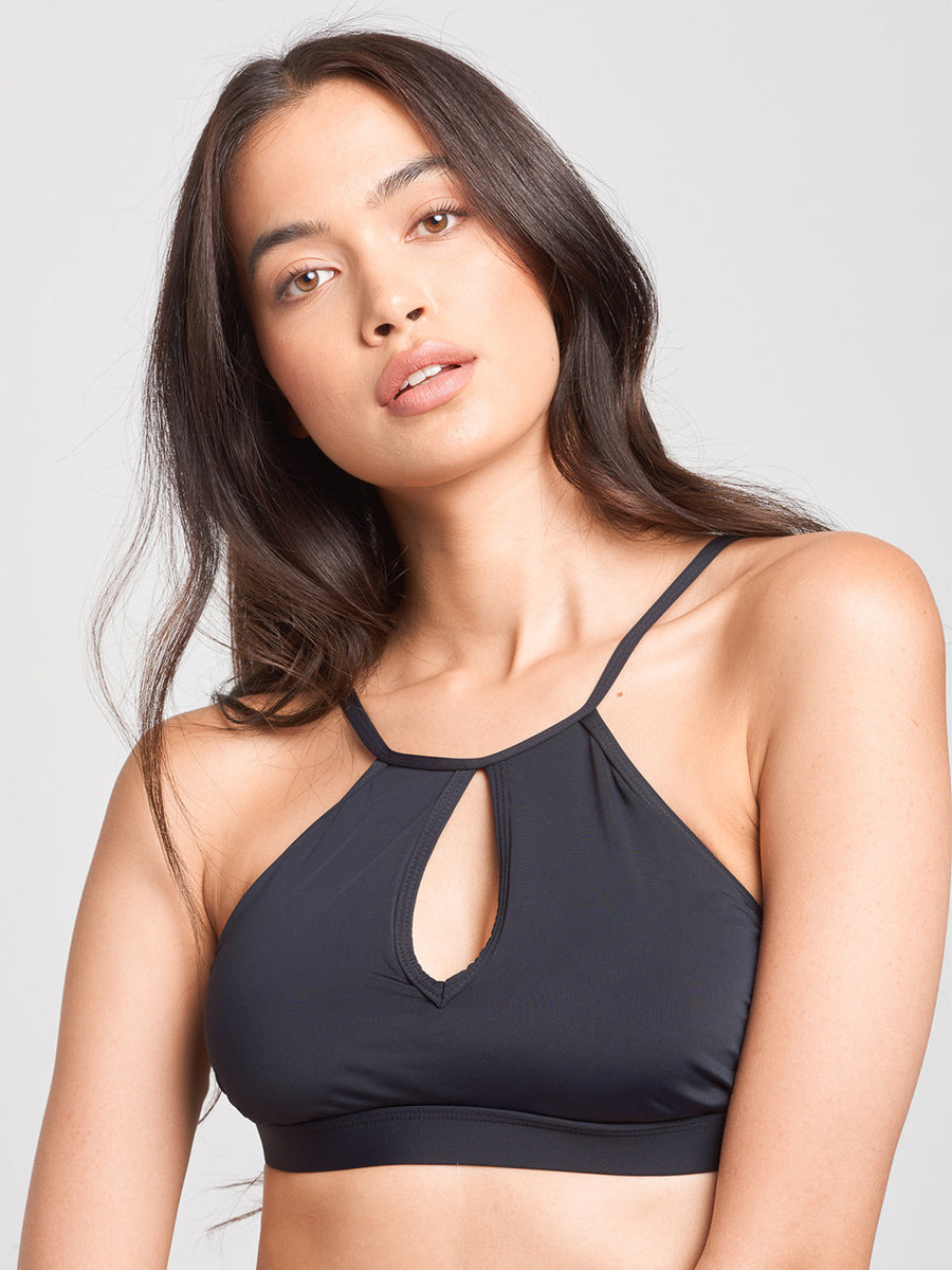 Coral Keyhole Swim Top- Black