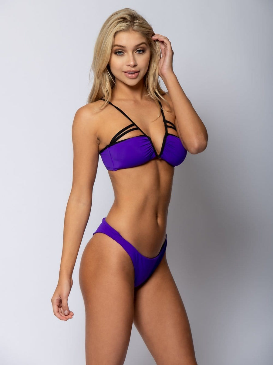 Veronique Tie Back Bikini Top - Purple