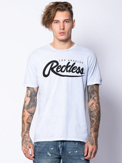 Young and Reckless Mens - Tops - Graphic Tee Big R Script Tee - Chambray