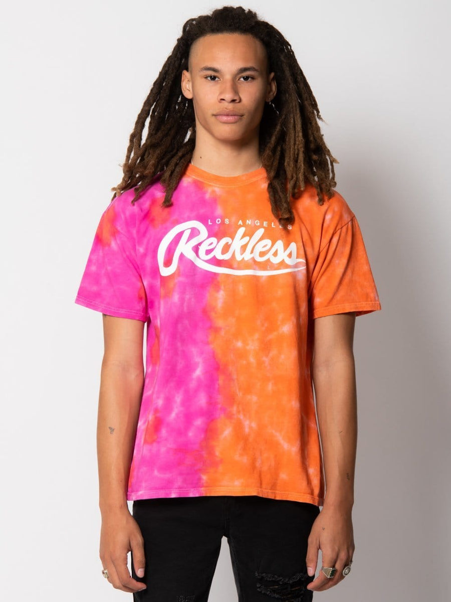 Big R Script Tee - Orange/Pink Tie Dye