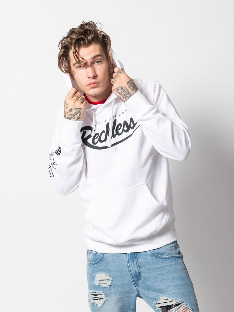 Young and Reckless Mens - Tops - Hoodies Diversion Hoodie - White