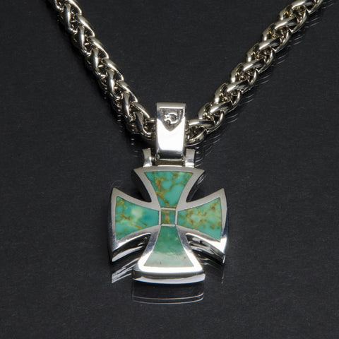 Maltese Pendant with Inlaid Turquoise