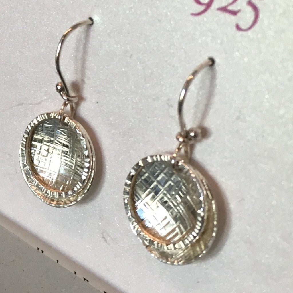 Hammered disc hammered sterling silver earrings handmade