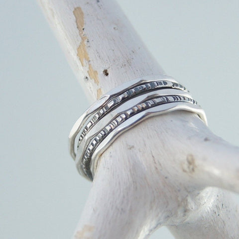 Sterling silver stacking ring hammered