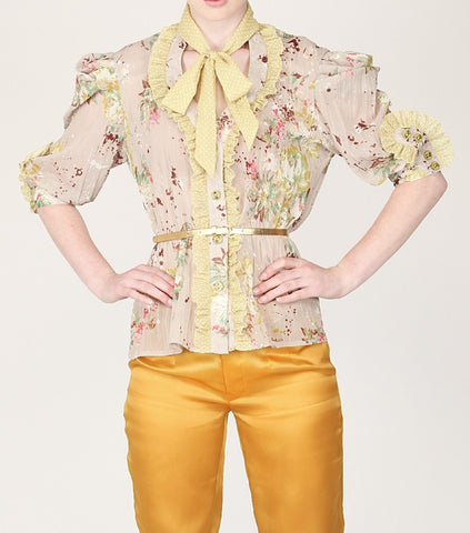 Beige Floral Crinkle Poly Chiffon Bow Shirt