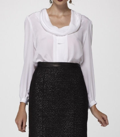 Silk Crepe de Chine Blouse with draped Collar & Long Buttoned Sleeves