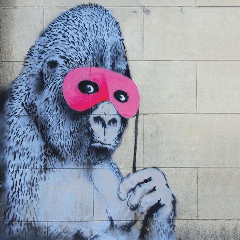 Banksy Gorilla in a Pink Mask Greetings Card