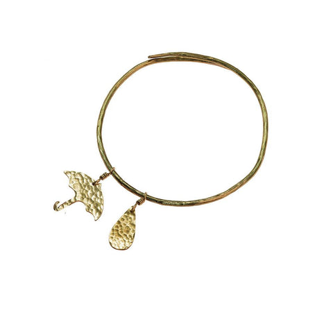 Hammered Brass Umbrella Bangle