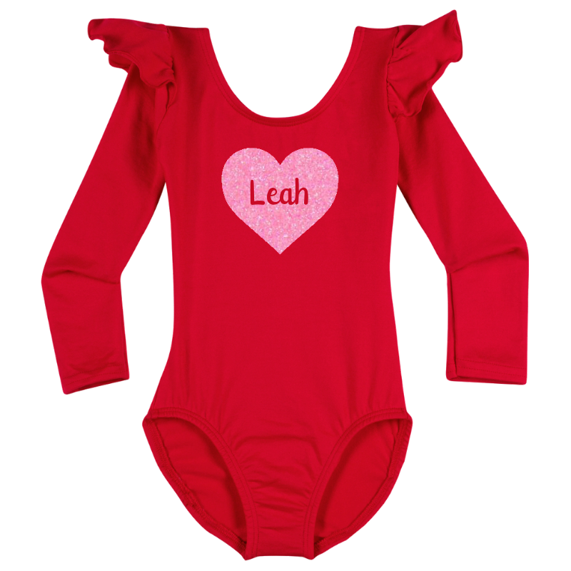 Personalized Valentine's Girls Long Sleeve Top - Red