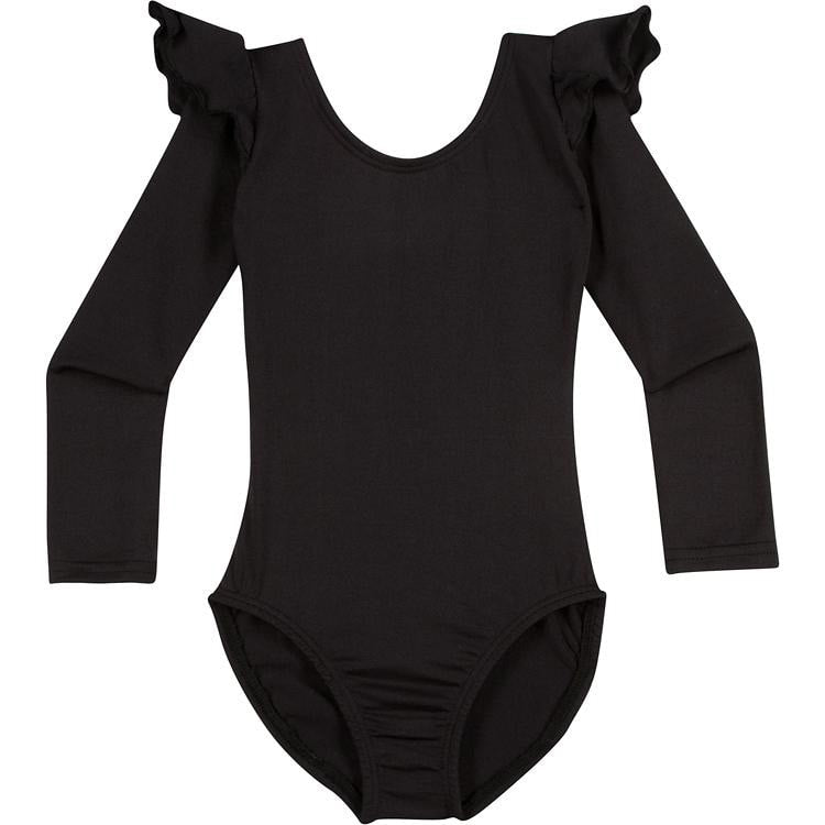 Infant, Toddler and Girls Cute Black Long Sleeve Leotard with Ruffle Shoulder