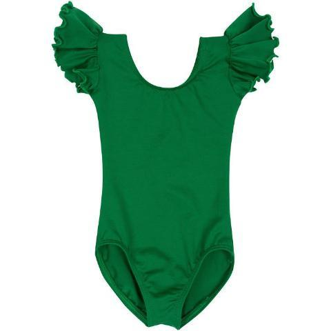 Green Ruffle Sleeve Leotard for Toddler and Girls