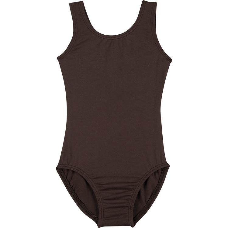 Infant, Toddler and Girls Brown Sleeveless Tank Dance Leotard