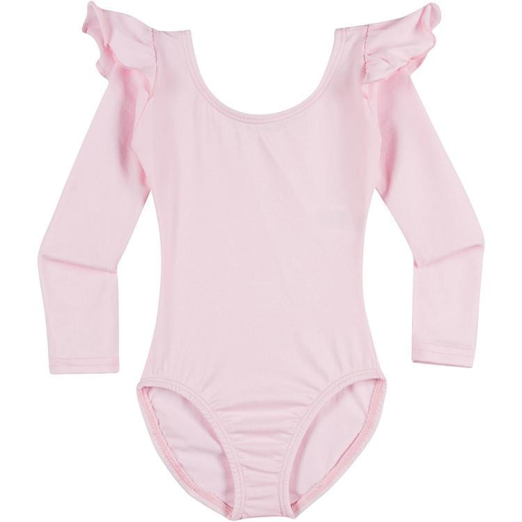 Infant, Toddler and Girls Cute Light Pink Long Sleeve Leotard with Ruffle Shoulder